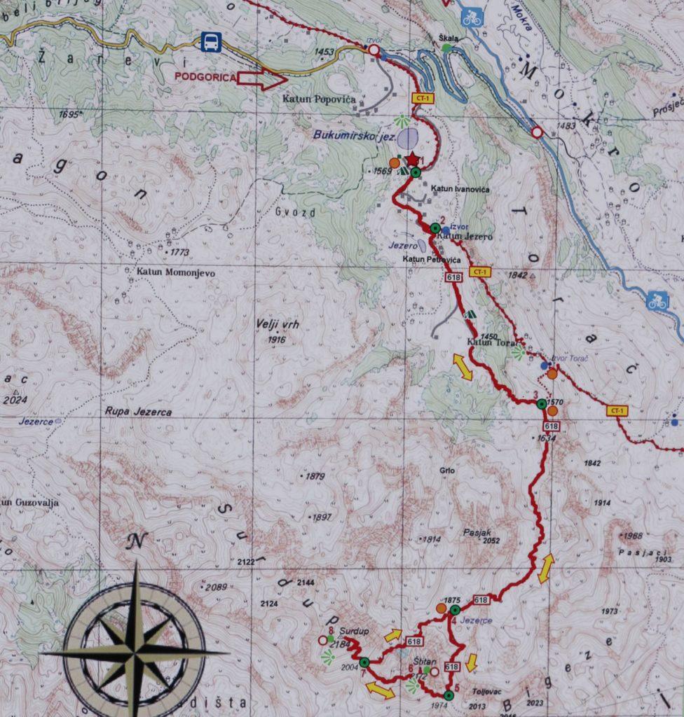 Zijovo hiking map Stitan Surdup