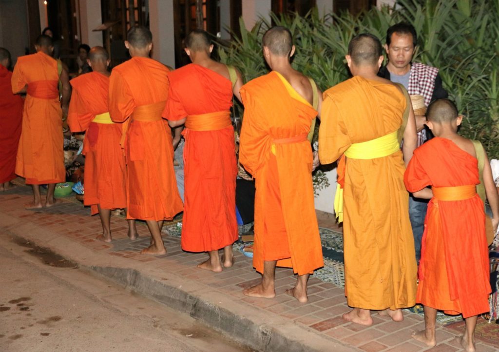 7 monks alm giving Luang Prabang